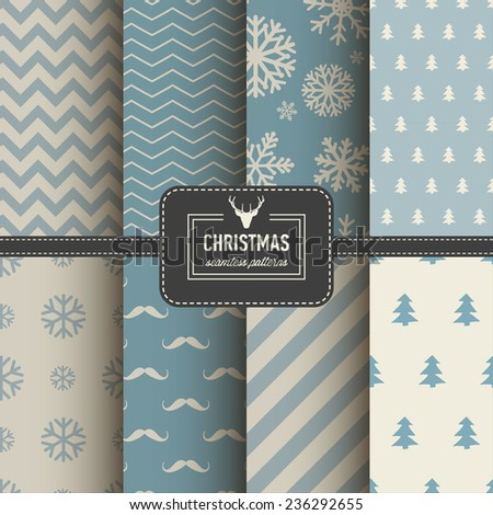 Set of Christmas simple retro winter seamless patterns. Stylish collection patterns - stock vector