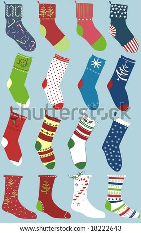 set of christmas socks isolated on blue - stock vector