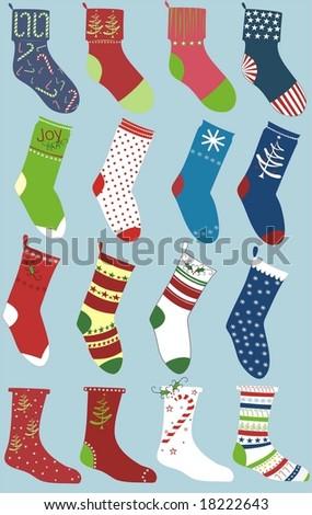 set of christmas socks isolated on blue - stock vector