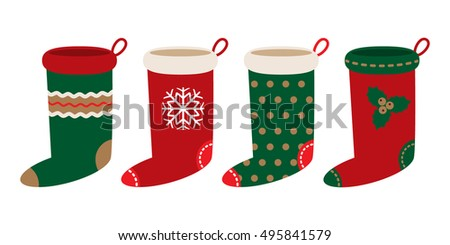 set of Christmas socks with different ornaments isolated on white background vector flat
