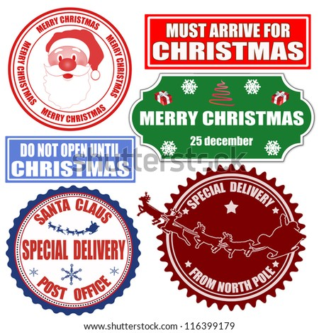 Set of Christmas stamps and labels on white background, vector illustration - stock vector
