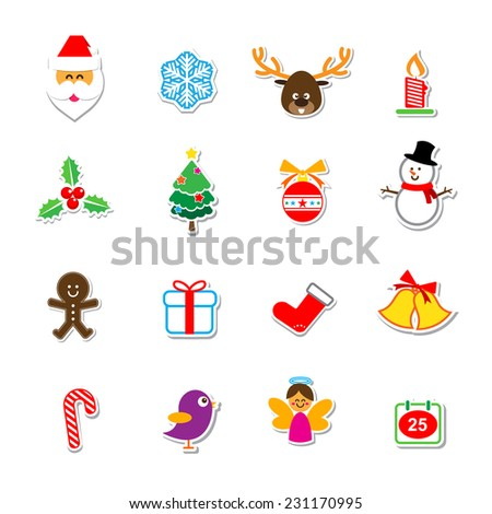 Set of Christmas sticker Icons Isolated on the White Background vector illustration for holiday