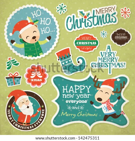 Set of Christmas Stickers - stock vector