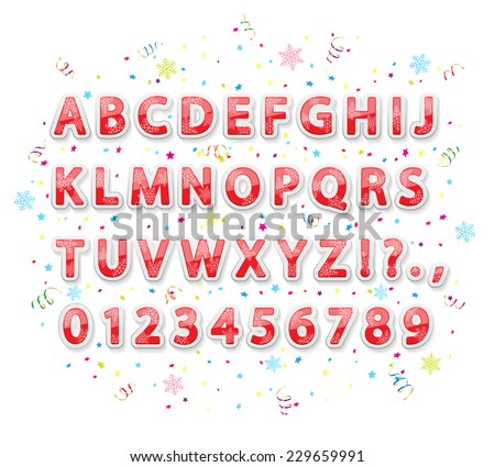 Set of Christmas stickers alphabet letters with snowflakes, tinsel and confetti on white background, illustration. - stock vector