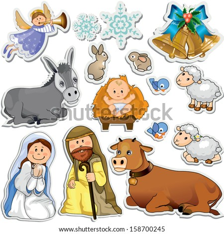 Set of Christmas stickers representing the characters of the holy family-Gradient mask-Eps10 - stock vector