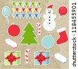 Set of christmas stickers, vector elements for your design for card,  invitation, website, web page etc - stock vector