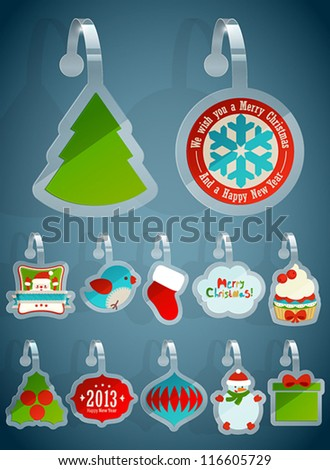 Set of Christmas stickers. Vector illustration. - stock vector