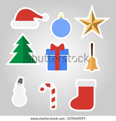 Set of Christmas stickers. Vector illustration