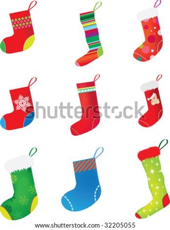 set of christmas stocking on white background - stock vector