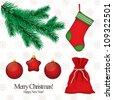 Set of Christmas symbols for design - stock vector