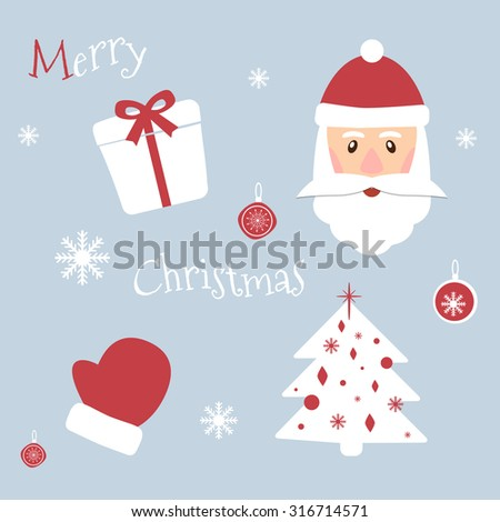 Set of Christmas symbols. New Year theme. Vector illustration. Winter cartoon pictures can be used for printing onto fabric and paper or scrap booking. Santa Claus, gift, mitten, snowflake, spruce. - stock vector