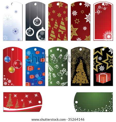 set of christmas tags and stickers - stock vector