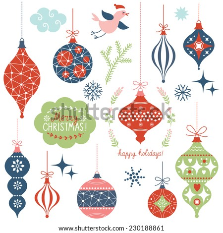 Set of Christmas toys - stock vector