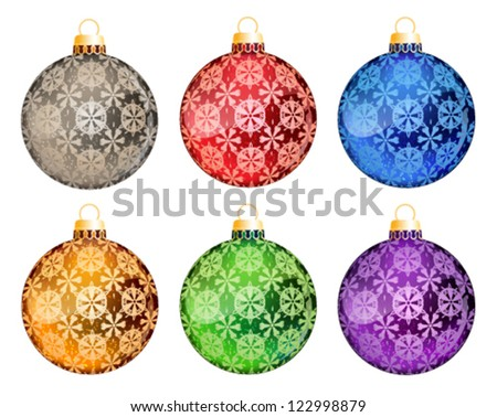 Set of Christmas tree ball ornaments with abstract pattern on a white background - stock vector