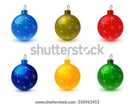 Set of Christmas tree colored balls. Christmas decoration, christmas background, christmas ornaments, celebration and holiday, ornament xmas, sphere bauble, decor bright, decorative illustration - stock vector