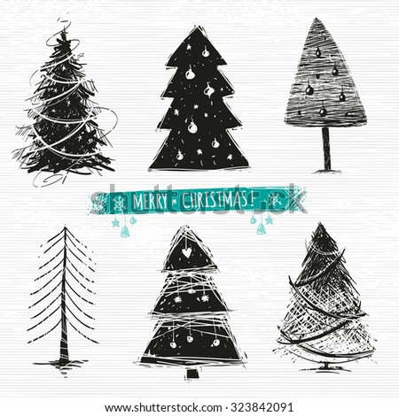 Set of Christmas Tree drawings. 6 designs in one file. - stock vector
