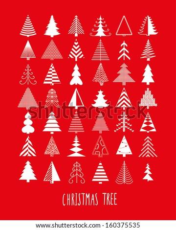 set of 42 Christmas trees  - stock vector