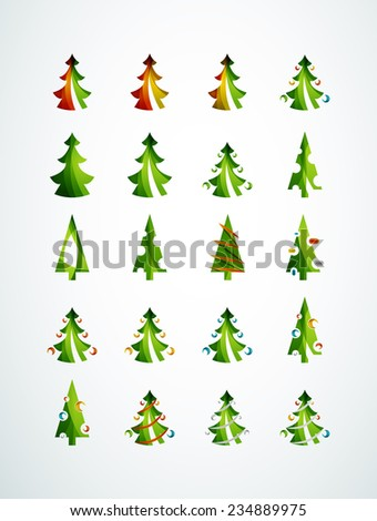 Set of Christmas trees, geometric design, modern simple shapes winter concept - stock vector