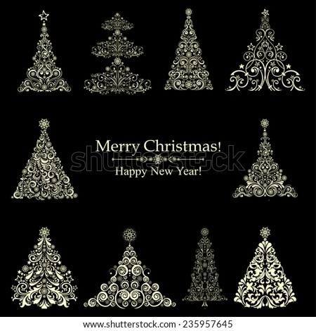 set of christmas trees isolated on black background. Vector illustration  - stock vector