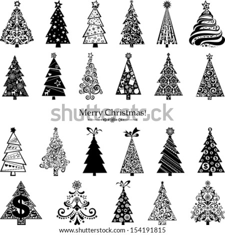 Set of  Christmas Trees isolated on White background. 23 designs in one file.  Vector illustration  - stock vector