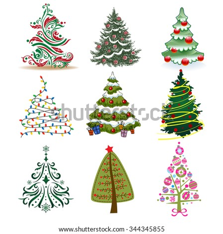 Set of Christmas Trees to create holiday cards, backgrounds and decorations. - stock vector