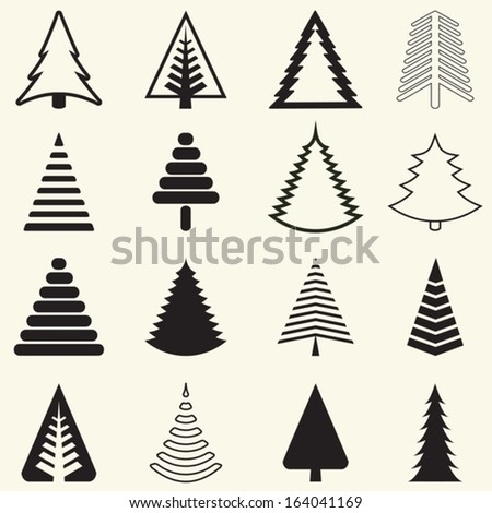 set of christmas trees. vector illustration. - stock vector