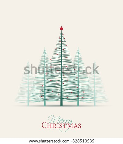 Set of Christmas trees, vector illustration Forest - stock vector
