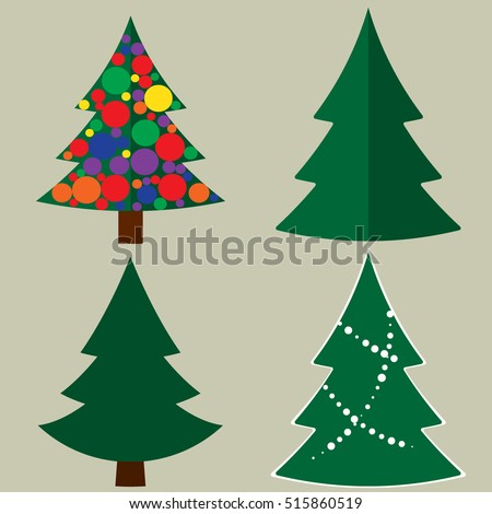 Decorate Christmas Tree Without Ornaments cartoon illustration christmas tree 3 different stock vector