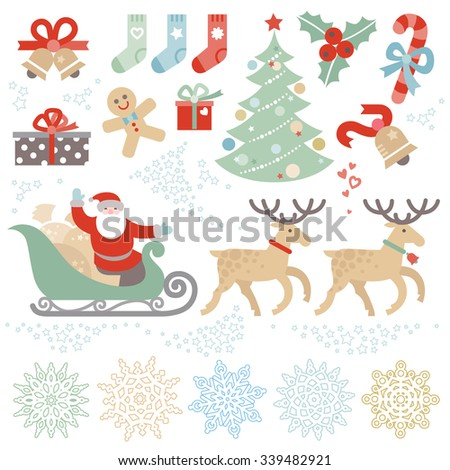 Set of Christmas vector elements, winter holidays icons collection. Santa Claus in sleigh, Christmas tree, snowflakes. Happy New Year's decor for brochures, magazines, leaflets, best wishes card. - stock vector