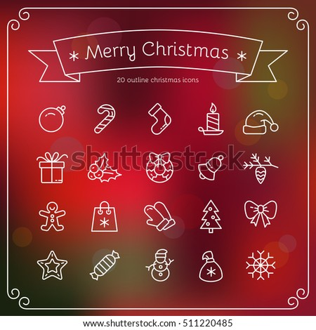 Set of Christmas vector icons. White outline Cristmas icons on red blur background. Vector Illustration. Christmas and New Year concept.