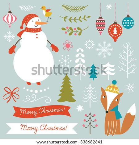 set of Christmas vector illustration  - stock vector