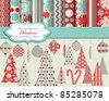 set of Christmas vector paper and clip art for scrapbook - stock vector