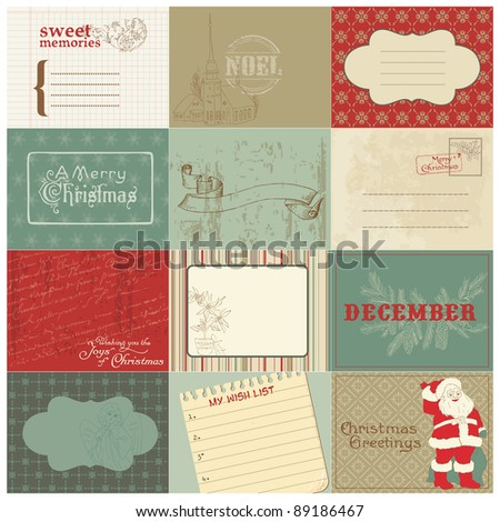Set of Christmas Vintage Design Elements in vector - stock vector