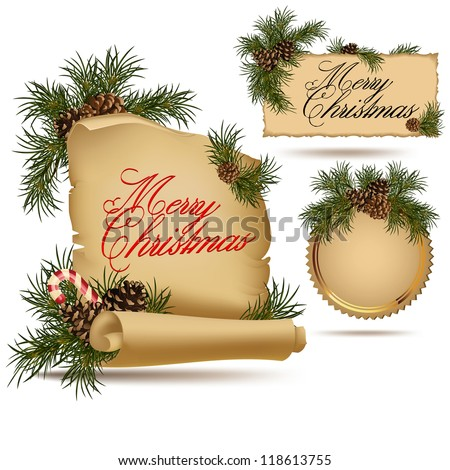 Set of Christmas vintage scrolls and stickers. - stock vector