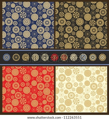 set of christmas wrapping paper - stock vector