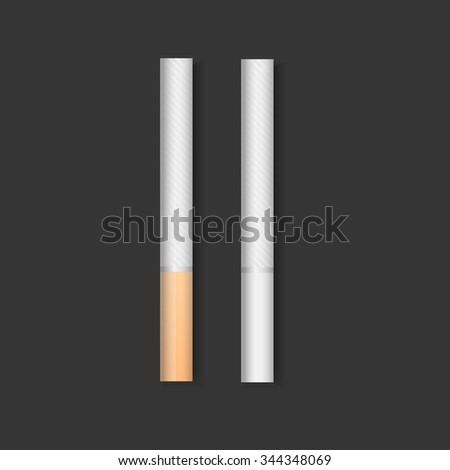 Set of Cigarettes white and golden filter, vector - stock vector