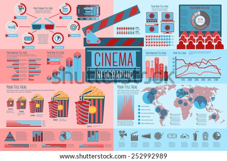 Set of Cinema Infographic elements with icons, different charts, rates etc. Vector - stock vector