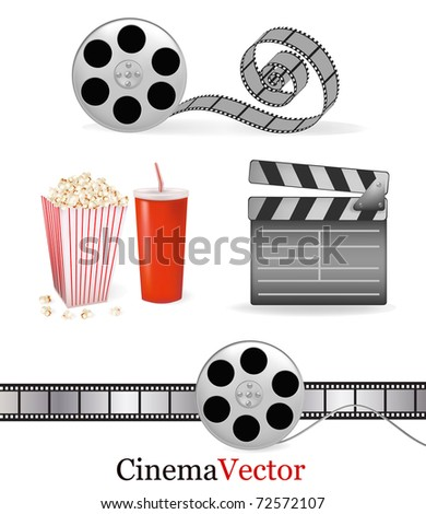 Set of cinema objects. Vector illustration.
