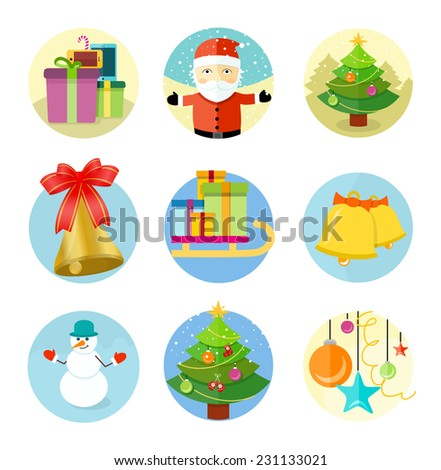 Set of 9 circle christmas icons with santa claus, christmas tree, decorations, gift boxes and snowman on white background - stock vector
