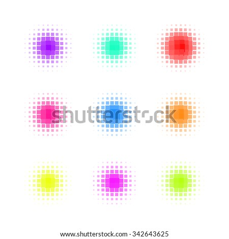 Set of Circle Colorful square Dot Banners. Noisy Round concepts. Dotwork Halftone Backgrounds. Vector Illustration. - stock vector