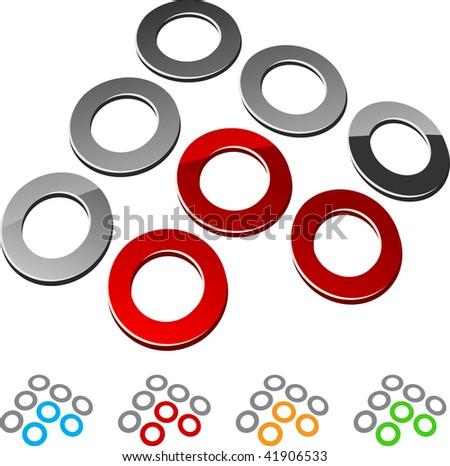 Set of Circle elements. Vector illustration. - stock vector