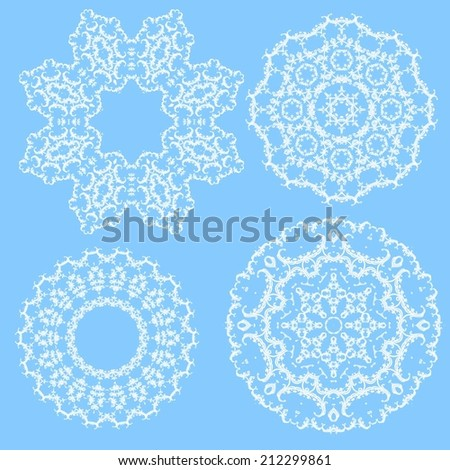 Set of circle ornament, abstract flowers  - stock vector