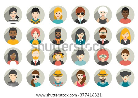 Set of circle persons, avatars, people heads  different nationality in flat style. Vector. - stock vector