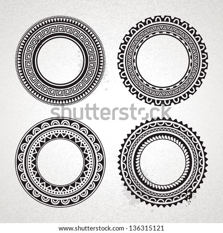 Set of circle polynesian tattoo styled frames. Vector illustration. - stock vector