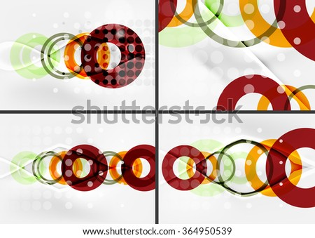Set of circle shape design abstract backgrounds with light effects and decorations