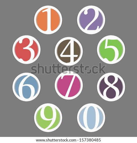 Set of circles with numbers, vector eps10 illustration - stock vector