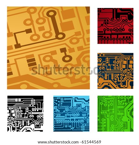 set of circuit board parts - stock vector