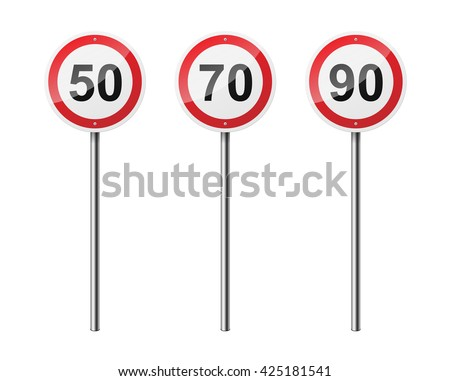 Set of 3 circular road signs, isolated on white background. EPS10 vector illustration.