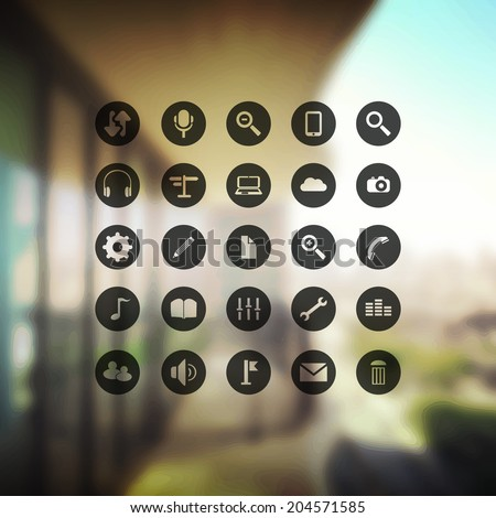 Set of Circular Transparent Icons on a Blurred Background - stock vector