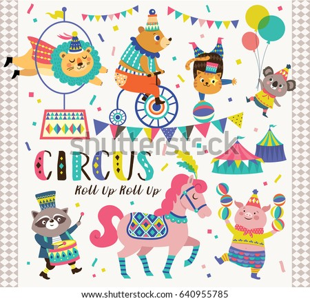 Set of circus cartoon animals